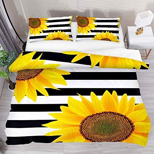LUCASE LEMON ALEX 3 Pieces Yellow Sunflower Black White Stripe Duvet Cover Set (1 Duvet Cover + 2 Pillowcases) King Size Breathable Bedding Sets Room Decor for Kids Teens Girls Boys