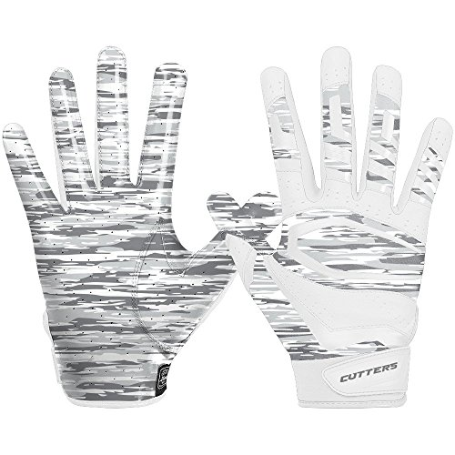 Cutters Mens Football Receiver Glove - Cutters Gloves Rev Pro 3.0 Receiver Phantom Gloves, White Camo, Medium