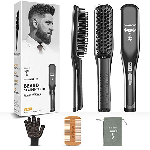 Upgraded Beard Straightener for Men, 3 in 1 Dovich Unique Design Beard Straightening Anti-Scald Straightening Comb Adjustable Temperature Portable Beard Heat Brush with LED Display