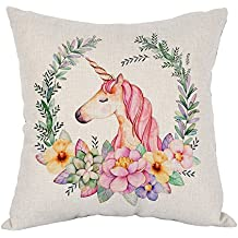 "Moslion Unicorn Pillow Pink Wavy Hair Unicorn in Garland Throw Pillow Covers Cotton Linen Cushion Cover Square Pillow Cases for Girls Women Kids Mens Boys Sofa Bedroom Livingroom 18""x18"" Colorful"