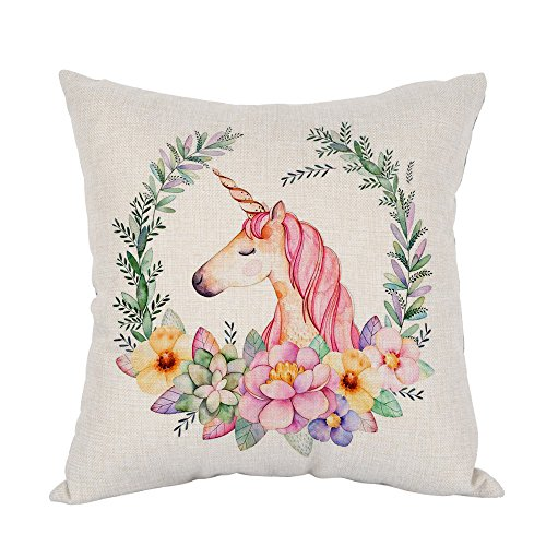 Moslion Unicorn Pillow Pink Wavy Hair Unicorn in Garland Throw Pillow Covers Cotton Linen Cushion Cover Square Pillow Cases for Girls Women Kids Mens Boys Sofa Bedroom Livingroom 18x18 Colorful