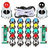 Avisiri 2 Player Arcade Joystick DIY Kit 2 x 8 Way Joystick + 20x Chrome LED Arcade Buttons Game Kit for PC Raspberry Pi Video Games (Mix Kits) (Color: Mix Kits)