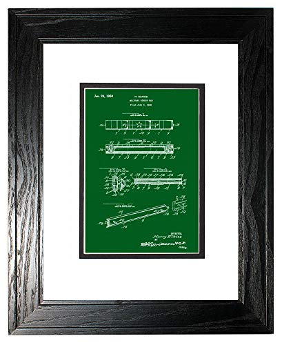 Military Ribbon Bar Patent Art Green Print in a Black Pine Wood Frame with a Double Mat (16
