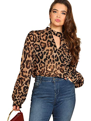 SheIn Women's Choker Neck Long Sleeve Sheer Leopard Print Chiffon Blouse Top Brown 2XL