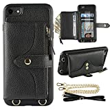 LAMEEKU Wallet Case Compatible with iPhone 7, iPhone 8 Case Wallet Card Holder Case Wrist Chain Crossbody Strap Zipper Case for iPhone 7/iPhone 8, 4.7 inches-Black