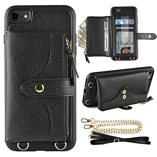 Wallet Case Purse - LAMEEKU Wallet Case Compatible with iPhone 7, iPhone 8 Case Wallet Card Holder Case Wrist Chain Crossbody Strap Zipper Case for iPhone 7/iPhone 8 (4.7 inches Black)