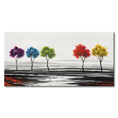 Winpeak Art Handmade Colorful Tree Oil Painting on Canvas Modern Abstract Large Landscape Wall Art for Living Room by Winpeak Art