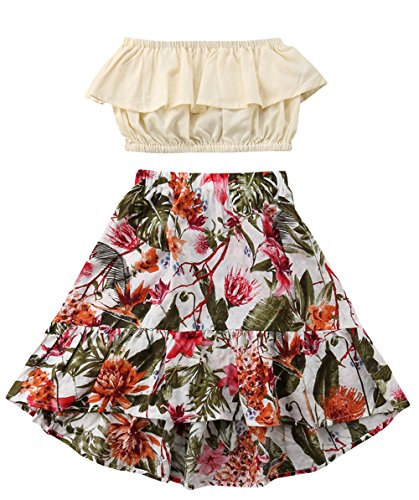 LOliSWan Little Girl Summer Dress Beach Dress Sundress Bra Dress Casual Dress Pleated Tube top Floral Print Long Skirt (Beige+Floral, 5-6 Years) by LOliSWan