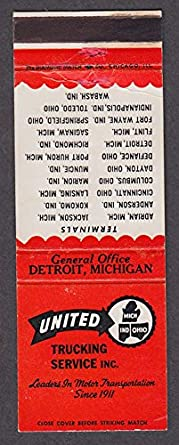 United Trucking Service Inc General Office Detroit Mi Matchcover At