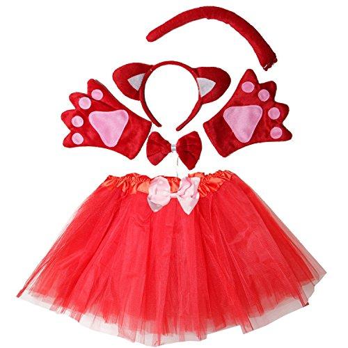 Kirei Sui Kids Costume Tutu Set Red (Girls Fox Halloween Costume)