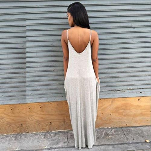 Long Beach Gray Evening Women Party Dress Dresses Coper® Sexy Gallus Boho Summer Maxi XOAOwq