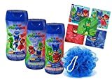 Pj Masks Super Hero 4pc Bathroom Collection! Includes Body Wash, Shampoo, Bubble Bath & Bath Scrubby! Plus Bonus PJ Mask Character Stickers!