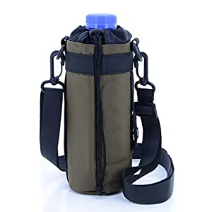 U-TIMES Water Bottle Holder 750 ml Nylon Water Bottle Carrier/Bag/Pouch/Case/Cover/Sleeve With Shoulder Strap & Belt Handle & Molle Accessories - Drawstring Closure(Grey)