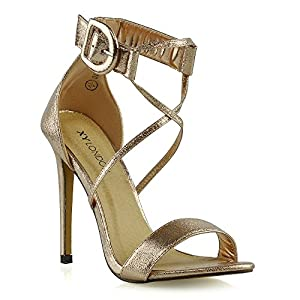 ESSEX GLAM Womens Ankle Strap Stiletto Sandals Ladies Open Toe Strappy High Heel Party Evening Prom Shoes Size 3-8