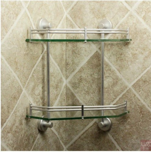 New Luxury Bathroom 2-Tier Glass Shelf Glass Shower Shelving Corner Aluminium by Bathroom Shelves (Image #3)