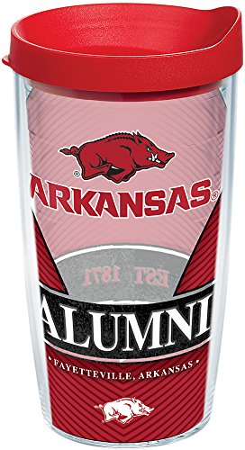 - Tervis 1224798 Arkansas Razorbacks Alumni Tumbler with Wrap and Red Lid 16oz, Clear