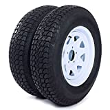 Set of 2 15'' White Spoke Trailer Wheel with Bias ST205/75D15 Tire Mounted (5x4.5) bolt circle