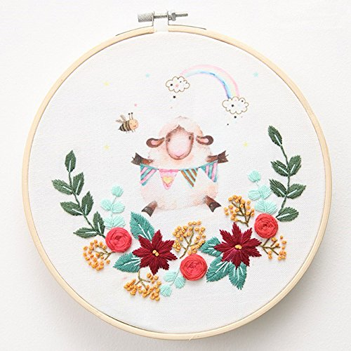 - Cross Stitch Stamped Embroidery Kit - Eafior DIY Beginner Counted Starter Cross Stitch Kit for Art Craft Handy Sewing Including Color Pattern Embroidery Cloth,Embroidery Hoop,Color Threads,Tools Kit