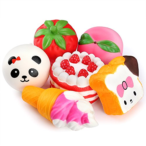 PP OPOUNT 6 Pieces Squeeze Cream Scented Toys Panda/ Toast/ Cake/ Ice-Cream/ Strawberry/ Peach Slow Rising Squeeze Toys