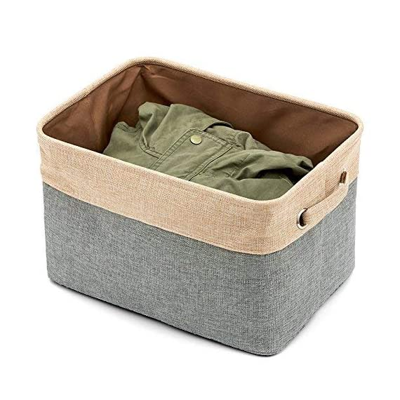 EZOWare Set of 3 Large Canvas Fabric Tweed Storage Organizer Cube Set W/Handles for Nursery Kids Toddlers Home and… - [ MODERN DESIGN ] EZOWare Storage Bins are a perfect way to accessorize, organize, and store items at home, office, dorm, loft or other dwellings. We offer best organization and storage solutions that complement lifestyles [ DURABLE MATERIAL ] Constructed of durable, decorative and attractive jute, cotton & PVE lining with linen interior lining. Metal eyelets and sturdy heavy duty handle make it easy to carry or pull off and out of shelves [ ORGANIZATIONAL SOLUTION ] Fashionable Storage Container: Designed to match interior decor and style in any room in the home or office. Enjoy the Brown and grey neutral color scheme for a rustic accent - living-room-decor, living-room, baskets-storage - 51l3ikfKveL. SS570  -