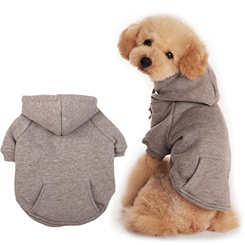 BaoZhang Pet Fleece Hoodies Basic Cotton Sweatshirt with Pocket Puppy Cat Winter Jacket Dog Cold Weather Coats,Grey (Basic Dog Hoodie Sweatshirt)
