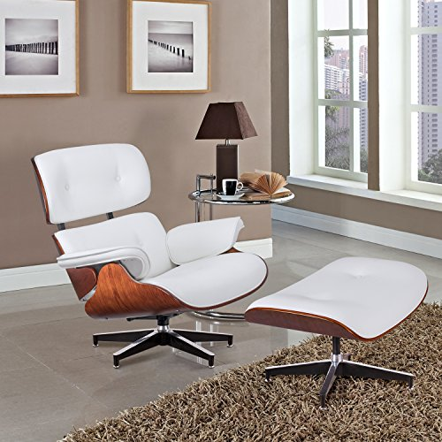 Furmax Mid Century Lounge Chair Recliner Chair with Footstool Ottoman Modern Classic Replica Style Palisander Wood PU Leather Heavy Duty Base Support for Living Room(White)