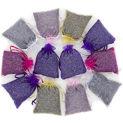 Flower Filled (D'vine Dev Lavande Sur Terre Pack of 12 Large Lavender Sachets Filled with French Lavender Flower Buds - Natural Deodorizer - Premium Ultra Blue Lavender Flower Buds)