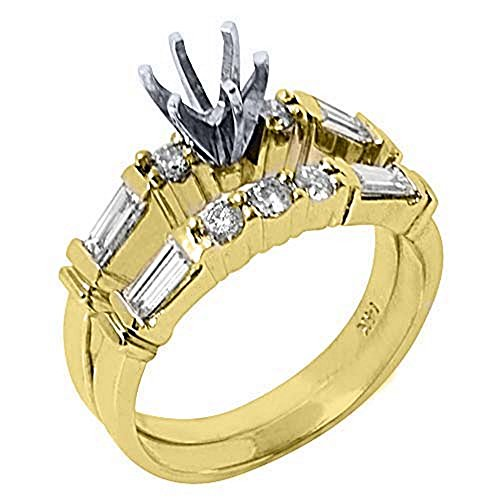 14k Yellow Gold Baguette & Round Diamond Engagement Ring Semi Mount Set 1 Carat