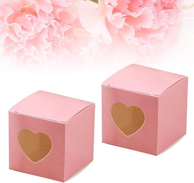 BESTONZON 50 Piezas cuadradas Cajas de Dulces de Papel Kraft PVC Transparente en Forma de corazón Cupcake Favor Cajas Cajas Banquete de Boda Accesorios (Rosa): Amazon.es: Hogar