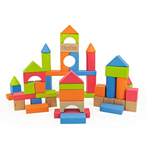 Bimi Boo Building Blocks - Colored Wooden Bricks Classic Toy Set for Kids and Toddlers of Preschool Age (Developmental Toys, Build and Play with 50 Pieces in Variety of Sizes, Shapes and Colors)