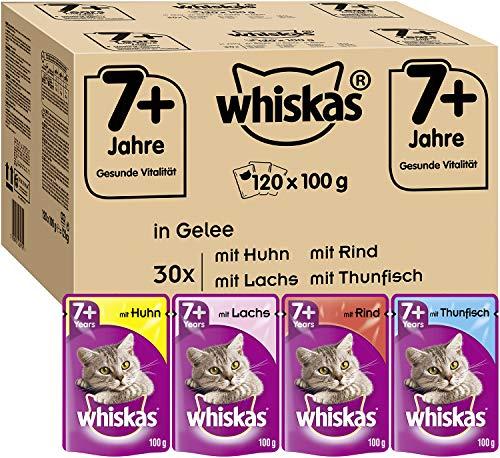 Whiskas 7 + Katzenfutter – Hochwertiges Nassfutter für Katzen ab 7 Jahren und älter – Für die Bewahrung der Vitalität…