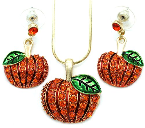 SoulBreezeCollection Pumpkin Post Stud Earrings and Pendant Necklace Set Halloween Thanksgiving Gift