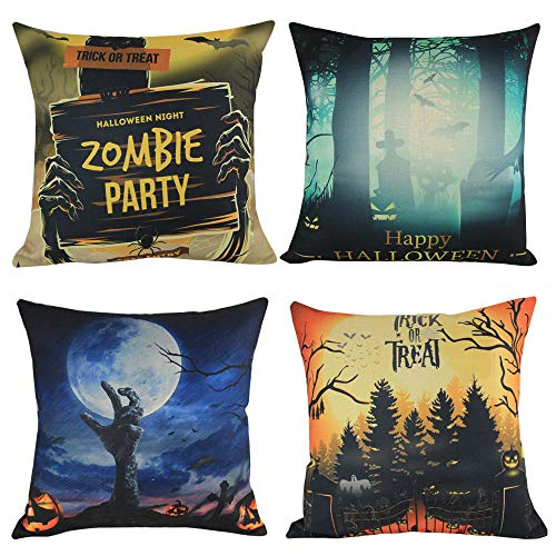 MHB Happy Halloween Throw Pillow Covers,Bat Witch Castle Cotton Linen Sofa Throw Pillow Case Cushion Covers 18 X 18 Inch