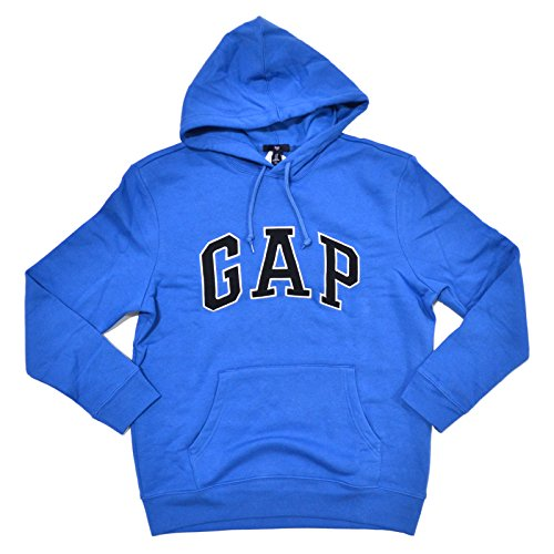 GAP Mens Fleece Arch Logo Pullover Hoodie (Azure Blue, Large)