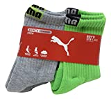 Puma Boys Crew Socks 3-Pack + 1 Bonus Athletic Sports Sox (Sock 5-6.5/ Shoe 4-8.5, Grey/Lime Green - Black Logo)