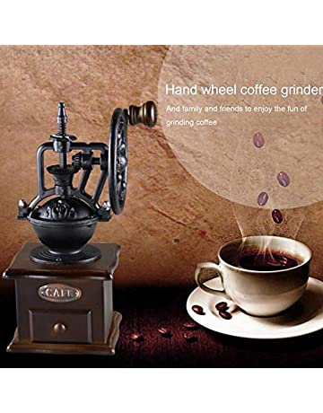 ningbao951 Manual Coffee Grinder Vintage Style Wooden Coffee Bean Mill Grinding Ferris Wheel Design Hand Coffee