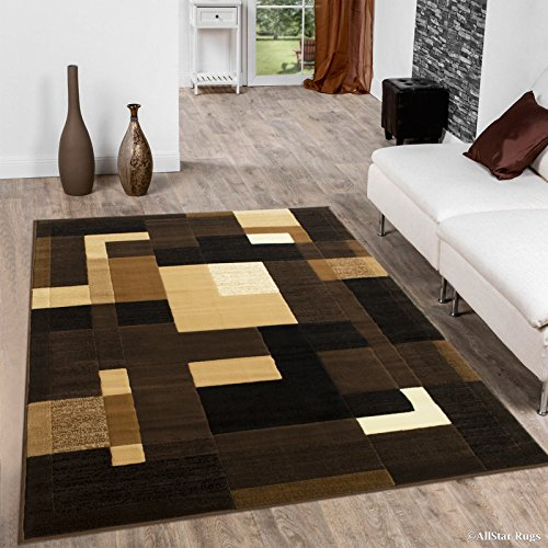 Allstar 4x5 Chocolate Modern and Contemporary Machine Carved Effect Rectangular Accent Rug with Ivory, Mocha and Espresso Geometric Color Block Design (3' 9