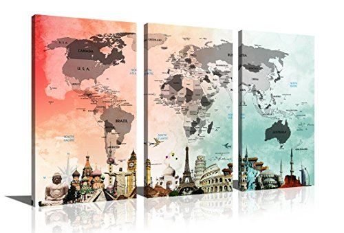 HLJ Art Colorful World Map Giclee Canvas Prints Eiffel Tower Statue of Liberty Famous Buildings Wall Art for Home Décor