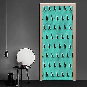 3D Door Stickers Decal Marine, Shark Fins Inside The Ocean Vinyl Mural Art Sticker Used on Wall at Work 30.3 x 78.7 Inch