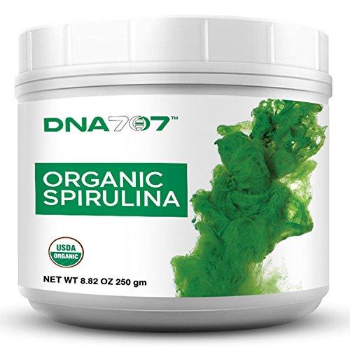 DNA707 Organic Spirulina Powder - Organically Grown and Sustainably Harvested Non-GMO Blue Green Algae, Raw, 100% Vegetarian & Vegan, Non-Irradiated(8 oz Spirulina)