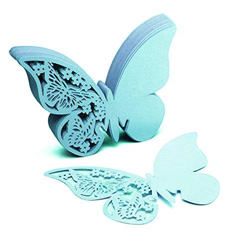 SHZONS™50pcs Wedding Party Table Name Place Cards Favor Decor Butterfly Laser Cut Design Table Favor Decor(Blue)
