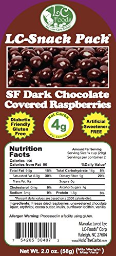 Dark Chocolate Covered Raspberries with Erythritol (6 Pack) - LC Foods - Low Carb - All Natural - Paleo - Gluten Free - No Sugar - Diabetic Friendly - 2 oz Each