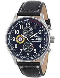 Men's AV-4011-03 Hawker Hurricane Analog Japanese-Quartz Blue Dial Black Leather Band Watch