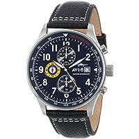 AVI-8 Men's 'Hawker Hurricane' Quartz Stainless Steel and Leather Dress Watch, Color:Black (Model: AV-4011-03)