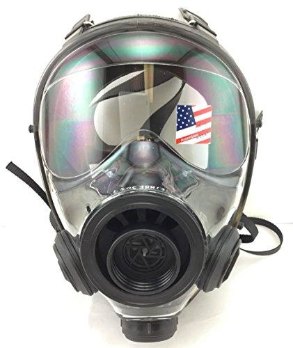 Israeli Military Spec Gas Mask NBC 40mm Full Face Emergency Preparedness Respirator - Made in 2017 (400/3 BB - Med/Lrg Gas - Long For Specs Face
