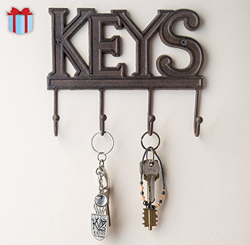 Key Holder - Keys | Wall Mounted Key Hook | Rustic Western Cast Iron Key Hanger |Decorative Key Organizer Rack with 4 Hooks | With Screws and Anchors | 6x8 inches | by Comfify (Rust Brown)