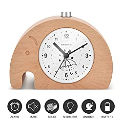 Alarm Clock-Fibisonic Silent Wooden Animal Analog Snooze Small Cute Desk Quartz Clock with Nightlight