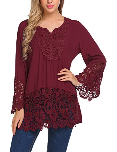 SoTeer Women Boho Floral Print Lace Splice Loose Mexican Peasant Blouse Tee Shirt Tops Red M