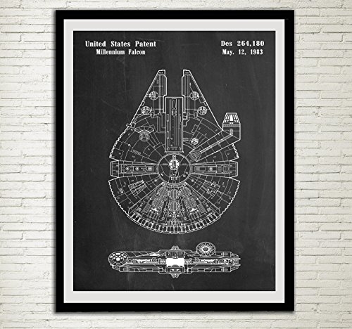 Star Wars Patent Home Office Decor Star Wars SpaceCraft Art Prints Millennium Falcon Wall Art Hanging from Poster Soul