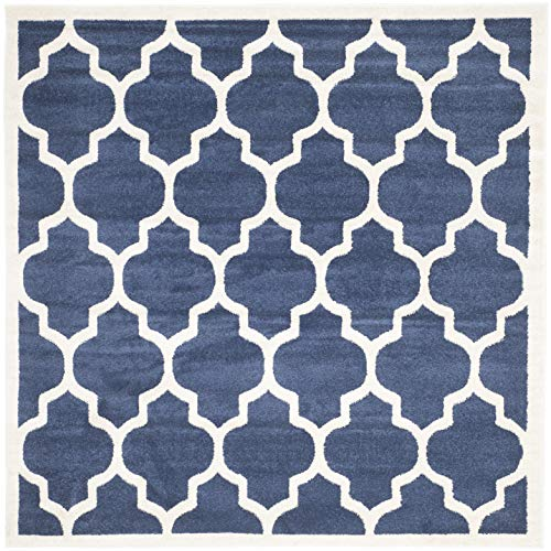 Safavieh Amherst Collection AMT420P Navy and Beige Indoor/ Outdoor Square Area Rug (7